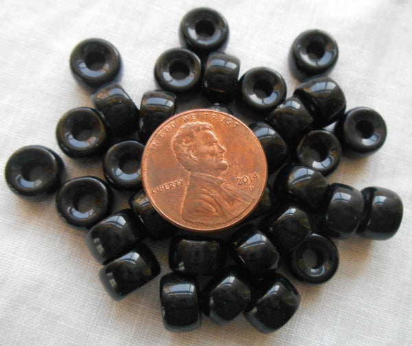 Lot of 25 9mm Czech Opaque Jet Black glass pony roller beads, large hole crow beads, C7625 - Glorious Glass Beads