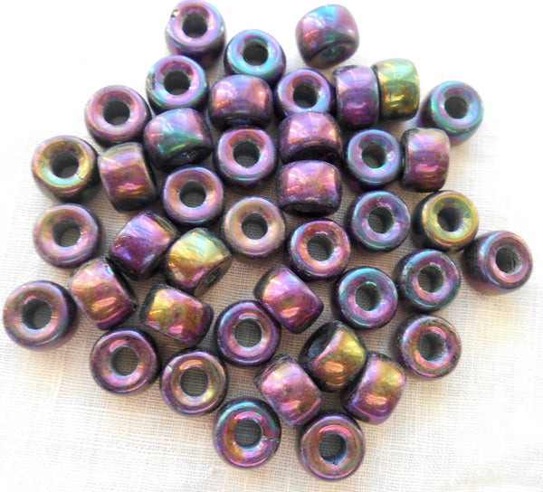 Lot of 25 9mm Czech iridescent multicolored glass Purple Iris pony roller beads, large hole crow beads, C3525