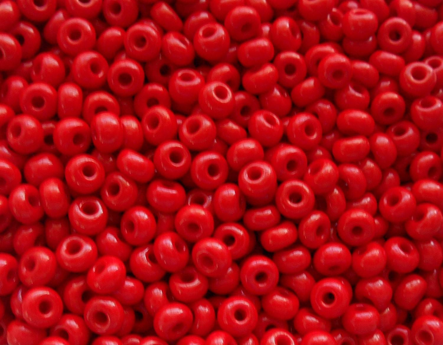 pkg of 24 grams opaque blood red czech 60 large glass seed beads