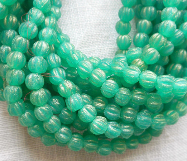 Fifty 3mm Sueded Gold Atlantis Green melon beads, Czech pressed glass beads C3650 - Glorious Glass Beads