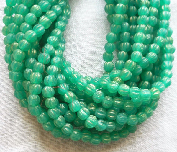 Lot of 100 3mm Sueded Gold Atlantis Green melon beads, Czech pressed glass beads C02101 - Glorious Glass Beads