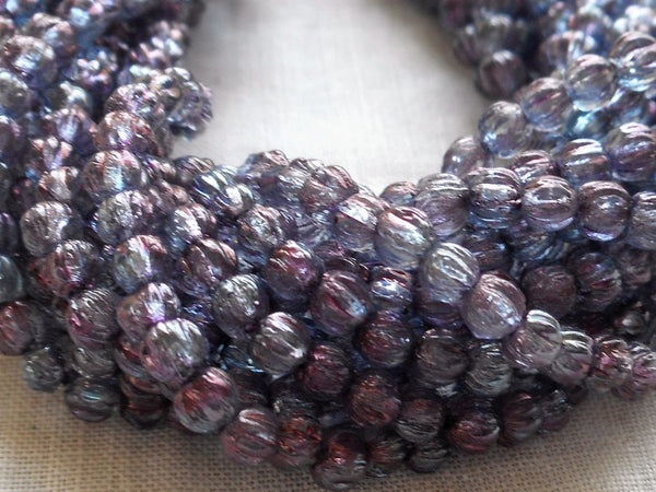 Lot of 100 3mm Transparent Amethyst Luster melon beads, pressed purple glass Czech beads, C32150 - Glorious Glass Beads