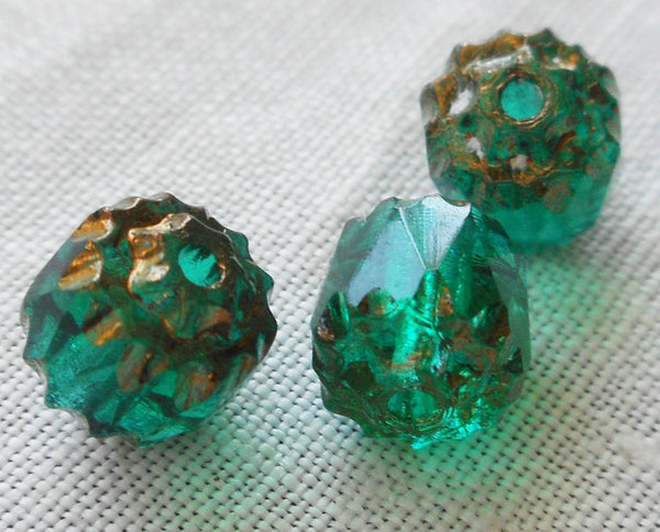 Lot of 25 Teal, Blue Green 6mm crown picasso beads, faceted, firepolished, antique cut, Czech glass beads C1801