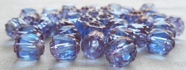Lot of 25 Light Sapphire Blue 6mm crown picasso beads, faceted, firepolished, antique cut, Czech glass beads C1801