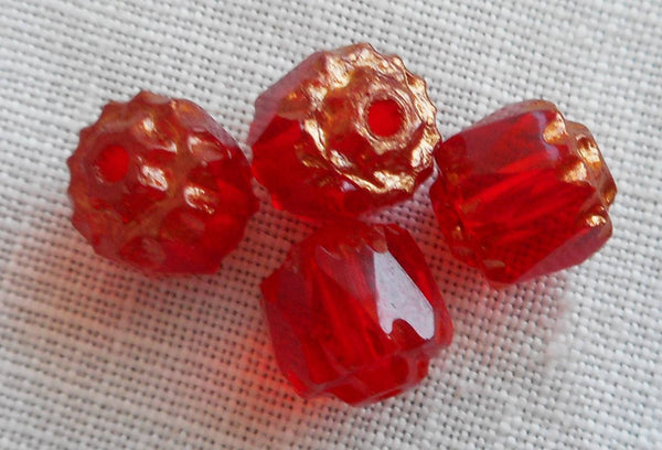 Lot of 25 Siam Red 6mm crown picasso beads, faceted, firepolished, antique cut, Czech glass beads C1801