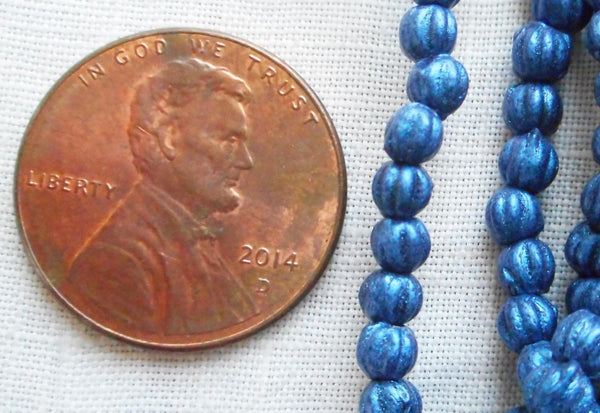 Fifty 3mm Matte Metallic Suede Blue melon beads, Czech pressed glass beads C8550 - Glorious Glass Beads