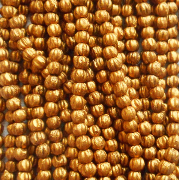 Fifty 3mm Matte Metallic Antique Gold melon beads, Czech pressed glass beads C8550 - Glorious Glass Beads