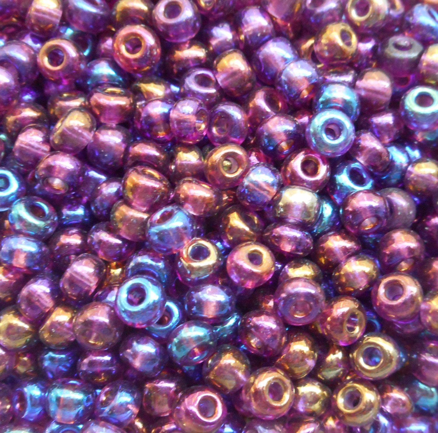 one pkg 24 grams amethyst ab purple czech 60 glass seed beads
