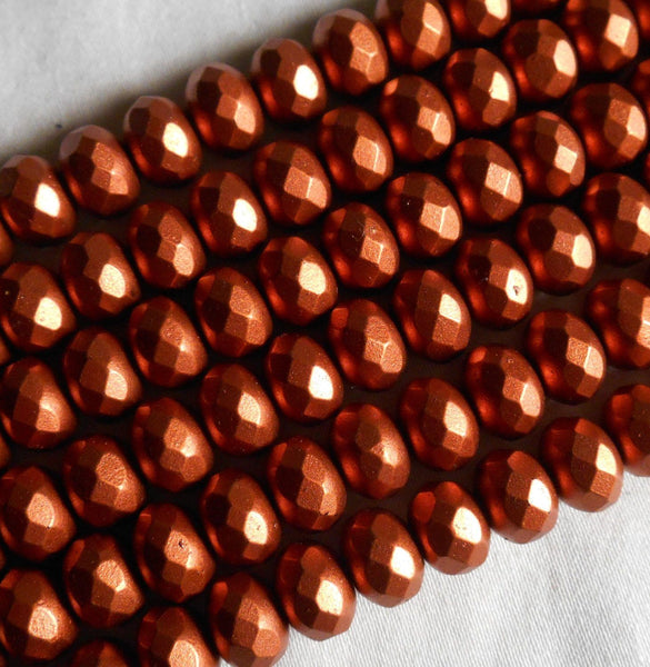 Czech glass Matte Copper faceted puffy rondelle beads,  6 x 9mm, lot of 28, C46125 - Glorious Glass Beads