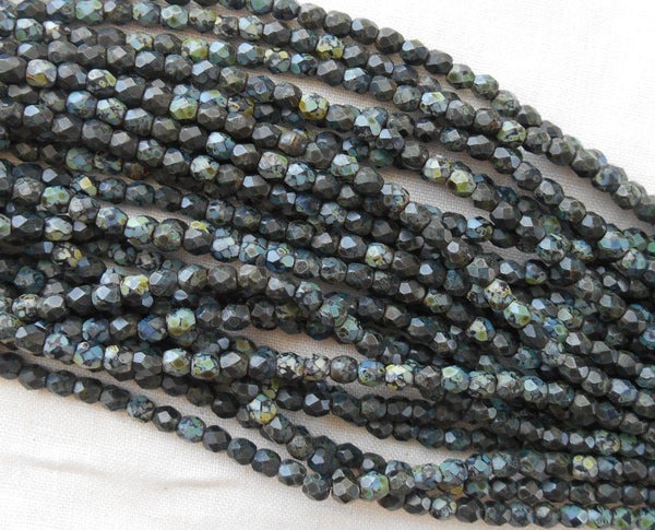Fifty 3mm Czech Matte Jet Black Picasso glass round faceted firepolished beads, C8450 - Glorious Glass Beads