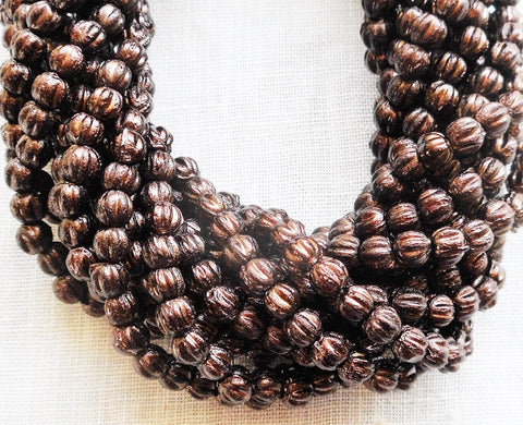 Lot of 100 3mm Dark Bronze Metallic Brown melon beads, Czech pressed glass beads C8550 - Glorious Glass Beads