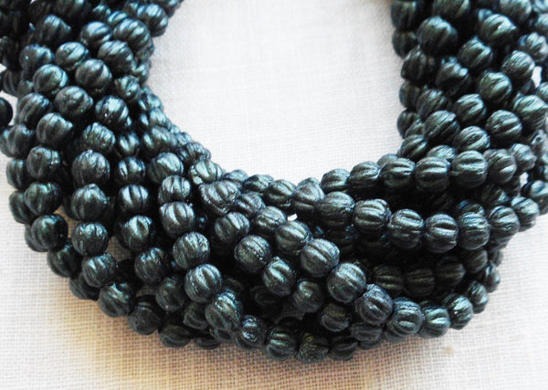 Fifty 3mm Forest Green, dark Sueded, Suede Metallic Green melon beads, Czech pressed glass beads C8550 - Glorious Glass Beads