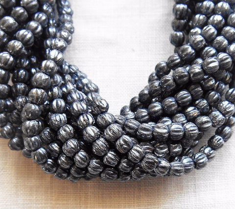 Fifty 3mm Hematite Gray Metallic melon beads, Czech pressed glass beads C1650 - Glorious Glass Beads