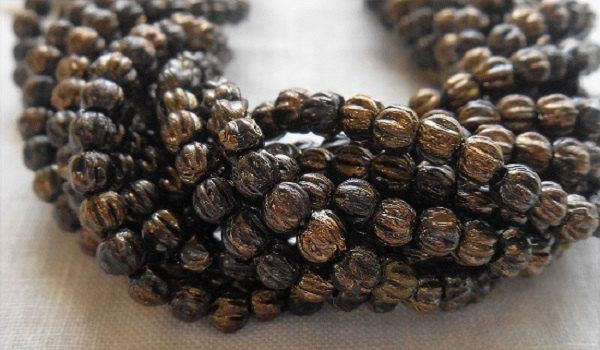 Fifty 3mm Jet Bronze Picasso Metallic Black Brown melon beads, Czech pressed glass beads C6650 - Glorious Glass Beads