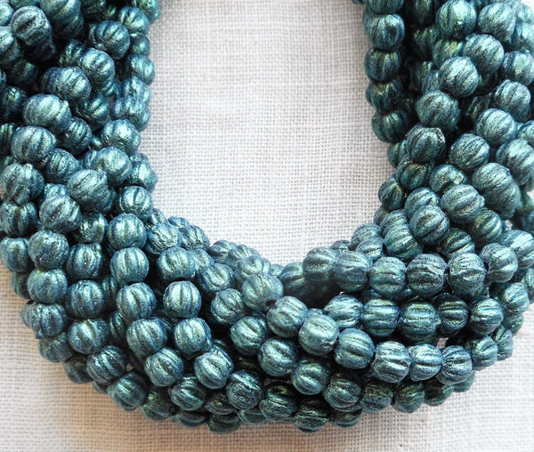Fifty 3mm Light Green, Sueded, Suede Metallic Green melon beads, Czech pressed glass beads C8550 - Glorious Glass Beads