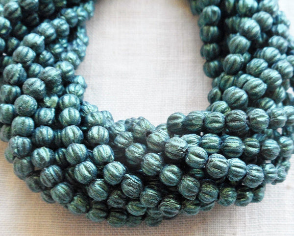 Lot of 100 3mm Light Green, Sueded, Suede Metallic Green melon beads, Czech pressed glass beads C05150 - Glorious Glass Beads