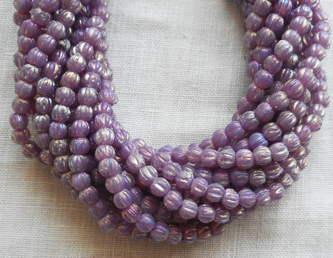 Lot of 100 3mm Lot of 100 Luster Iris Milky Amethyst melon beads, pressed opaque purple glass Czech beads, C63150 - Glorious Glass Beads
