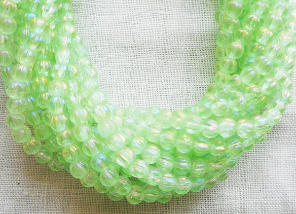 Fifty 3mm Luster Iris Peridot Green melon beads, Czech pressed glass beads C2650 - Glorious Glass Beads