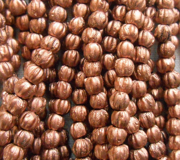 Fifty 3mm Matte Metallic Bronze Copper melon beads, Czech pressed glass Metallic Brown beads C8550 - Glorious Glass Beads