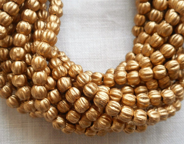 Fifty 3mm Matte Metallic Flax Gold melon beads, Czech pressed glass beads C8550 - Glorious Glass Beads