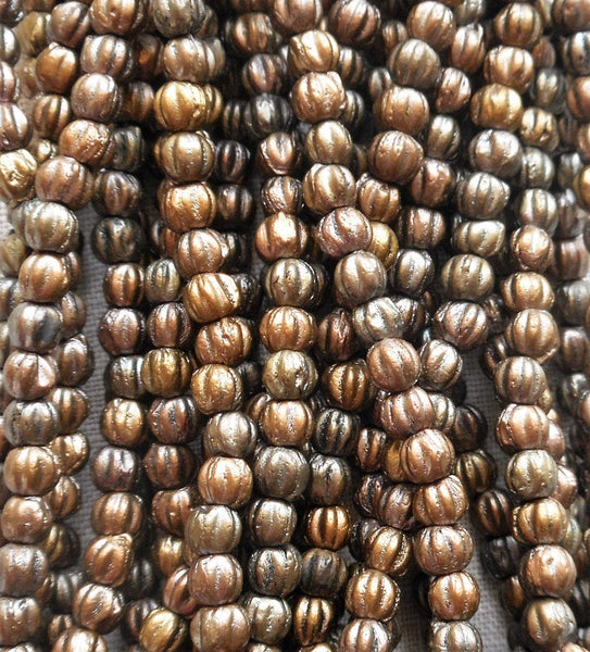 Lot of 100 3mm Matte Metallic Leather melon beads, Czech pressed glass beads C8550 - Glorious Glass Beads