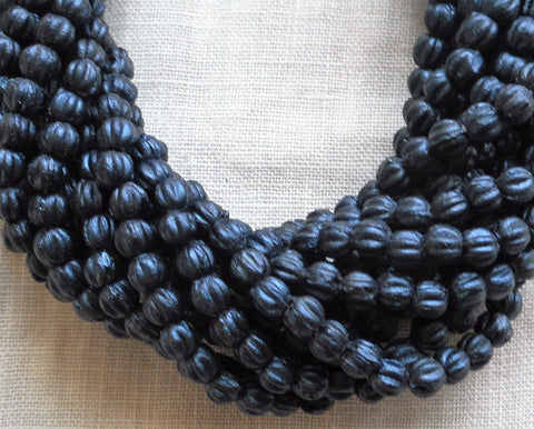 Lot of 100 3mm Matte Metallic Suede Dark Navy Blue melon beads, Czech pressed glass beads C02101 - Glorious Glass Beads