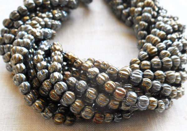 Fifty 3mm Metallic Brown Iris melon beads, Czech pressed glass beads C8550 - Glorious Glass Beads