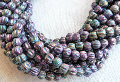 Lot of 100 3mm Metallic Purple Iris melon beads, Czech pressed glass beads C0650 - Glorious Glass Beads