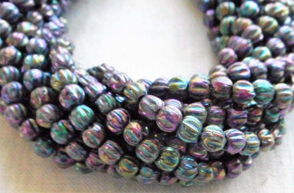 Fifty 3mm Metallic Purple Iris melon beads, Czech pressed glass beads C0650 - Glorious Glass Beads