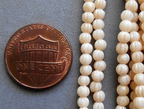 Fifty 3mm Off White Luster Champagne melon beads, neutral Czech pressed glass beads C9550 - Glorious Glass Beads