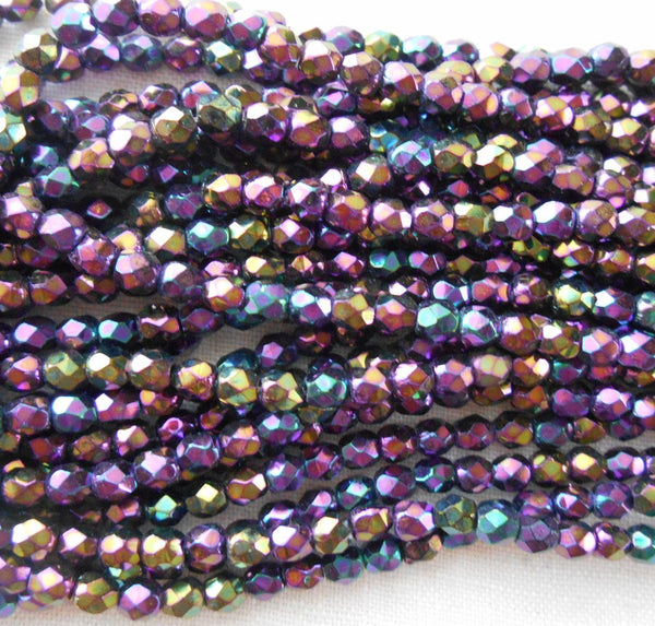 Fifty 3mm Purple Iris, faceted, round, firepolished glass beads, C8450 - Glorious Glass Beads