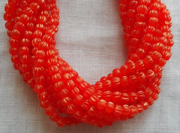 Lot of 100 3mm Sueded Gold Hyacinth Orange melon beads, Czech pressed glass beads C39410