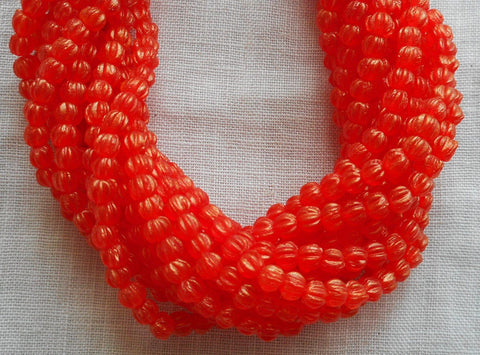 Fifty 3mm Sueded Gold Hyacinth Orange melon beads, Czech pressed glass beads C3650 - Glorious Glass Beads