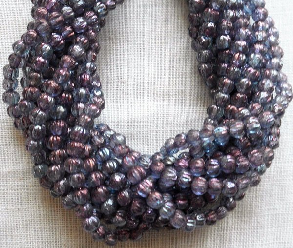 Fifty 3mm Transparent Amethyst Luster melon beads, pressed purple glass Czech beads, C2650 - Glorious Glass Beads