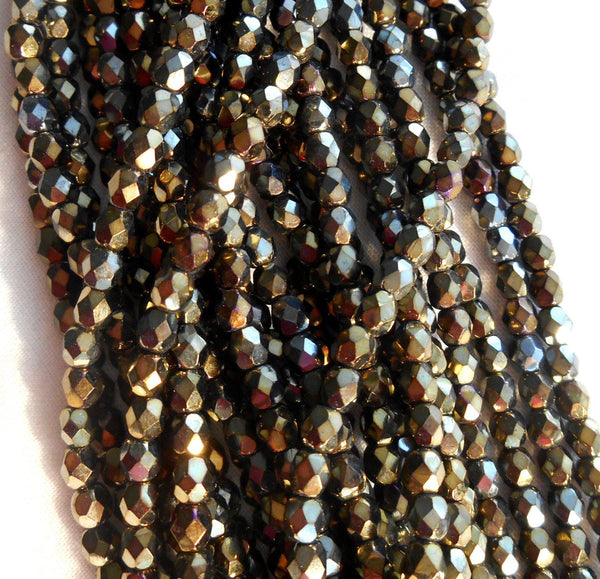 Fifty 4mm Brown Iris, faceted, round, firepolished glass beads, C5550