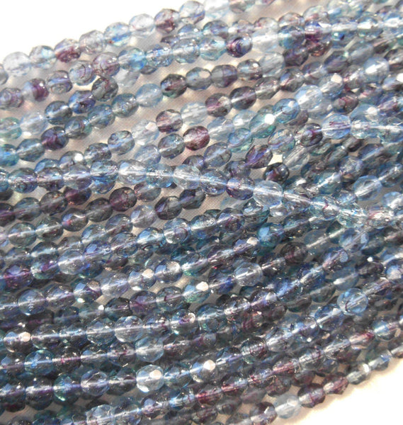 Fifty 4mm Czech Amethyst Sapphire swirl, hurricane glass round faceted firepolished beads, C41150 - Glorious Glass Beads