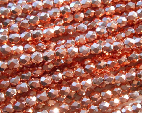 Fifty 4mm Czech Bright Copper metallic glass round faceted firepolished beads, C41150 - Glorious Glass Beads