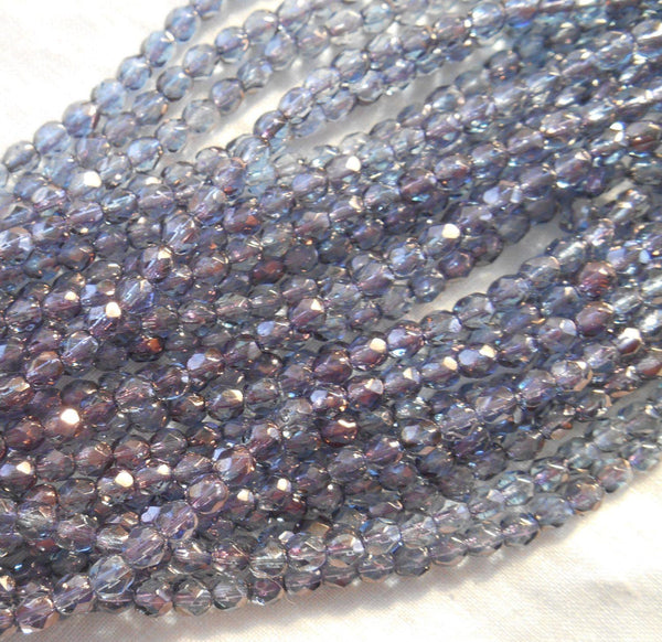 Fifty 4mm Czech glass Purple Luster, firepolished, faceted round beads, C3650 - Glorious Glass Beads