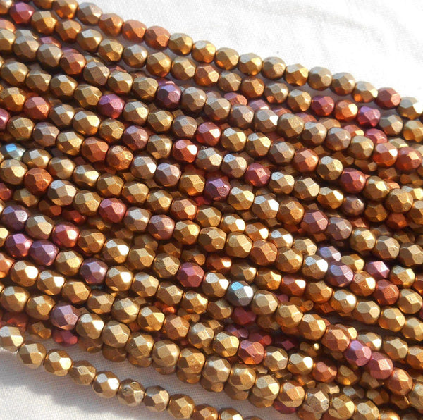 Fifty 4mm Czech Matte Metallic Gold Iris glass round faceted firepolished beads, C41150 - Glorious Glass Beads