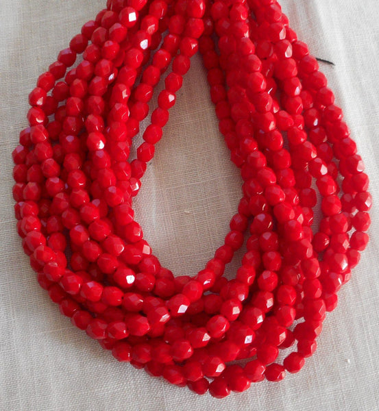 Fifty 4mm Czech Opaque Bright Blood Red  faceted, round, firepolished glass beads C4950