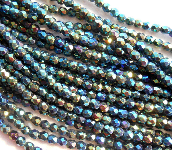 Fifty 4mm Iris Green Czech glass firepolished, faceted round beads, C5550