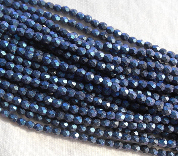 Fifty 4mm Polychrome Indigo Czech glass firepolished, faceted round beads, C6750 - Glorious Glass Beads