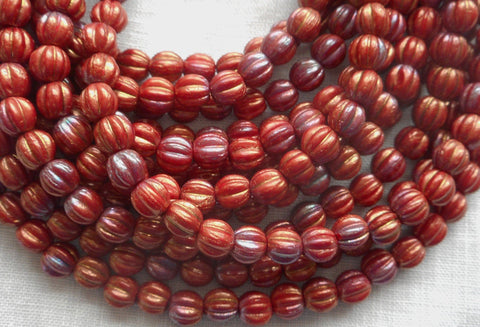 Fifty 5mm Bronze Luster Iris Opaque Red melon beads, Czech pressed glass beads C33150 - Glorious Glass Beads