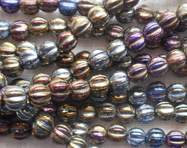 Fifty 5mm Brown Iris metallic glass melon beads, Czech pressed glass beads C0750 - Glorious Glass Beads