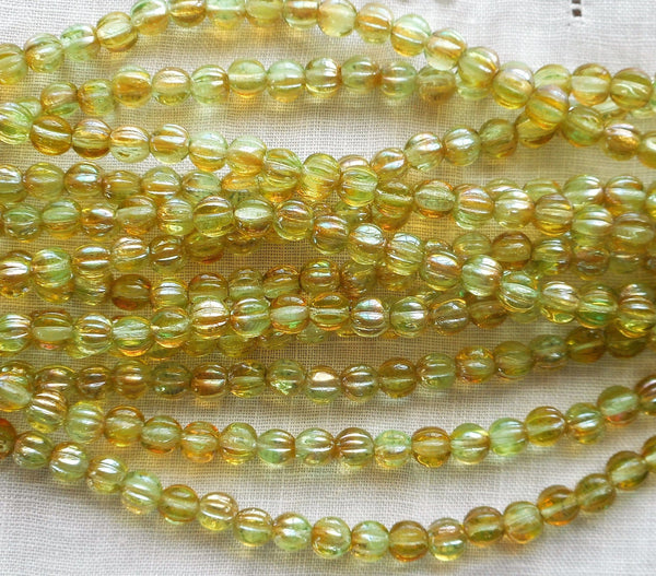 Fifty 5mm Chrysolite Celsian light green, amber melon beads, Pressed Czech glass beads C2850 - Glorious Glass Beads