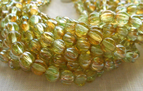 Fifty 5mm Chrysolite Celsian light green, amber melon beads, Pressed Czech glass beads C7850 - Glorious Glass Beads