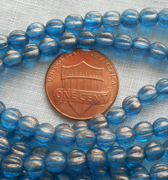 Fifty 5mm Halo Azurite blue melon beads, Pressed Czech glass beads C33150 - Glorious Glass Beads