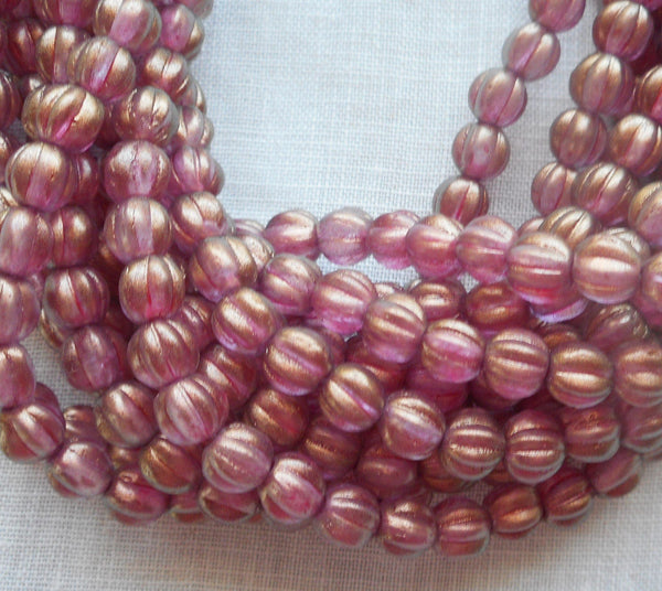 Fifty 5mm Halo Cherub melon Czech glass beads, gold coated pink glass beads C33101 - Glorious Glass Beads