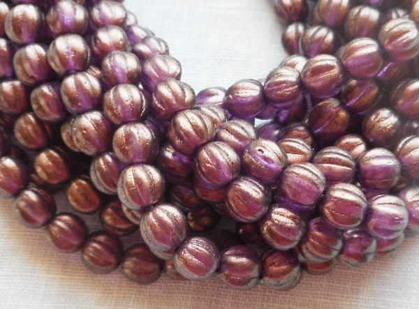 Fifty 5mm Halo Regal Czech glass melon beads, purple, amethyst gold coated beads C33101 - Glorious Glass Beads