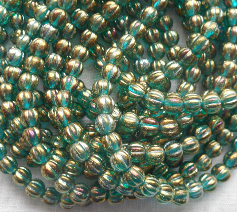 Fifty 5mm Luster Iris Atlantis Blue melon beads, Czech pressed glass beads C4850 - Glorious Glass Beads